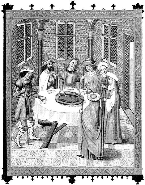 """""""The Jews' Passover""""—facsimile of a miniature from a 15th century missal, ornamented with paintings of the School of Van Eyck"""