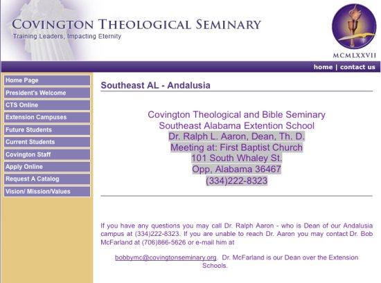 Covington Theological Seminary Southeast Alabama Extention School
